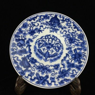 Exquisite Chinese blue and white porcelain hand-drawn Flower plate