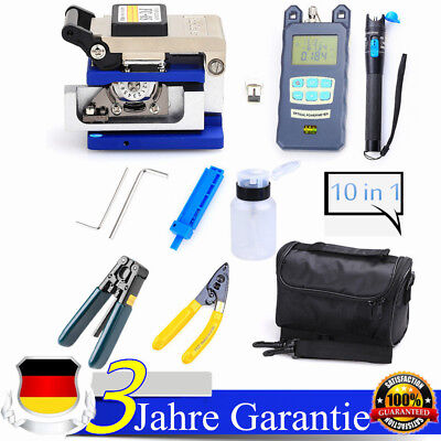 10 in 1 Fiber Optical FTTH Tool Kit FC-6S Fiber Cleaver Power Meter Visual DHL