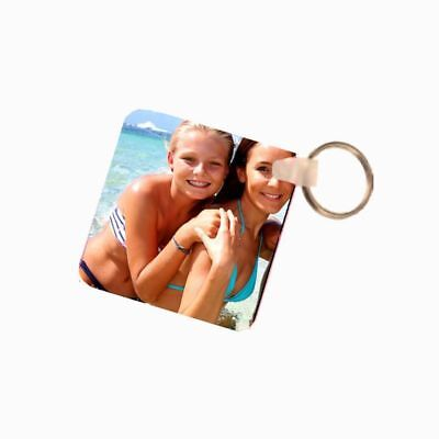 Personalised Photo Square Fiberglass Plastic Double Sided Keyring
