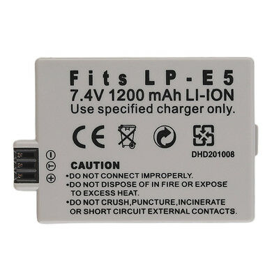 NEW Replacement 7.4V 1200MAH Rechargeable Li-Ion Battery for CANON LP-E5 E/W