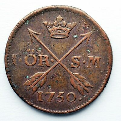 Sewden 1 ore 1750 King Frederick I great details 15.00 free shipping