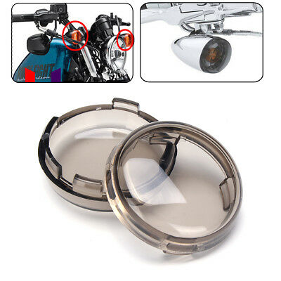 2Pcs Turn Signal Light Smoke Lens Cover ABS For Harley Davidson Dyna Sportster