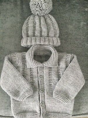 Hand Knitted Boys Cardigan And Matching Hat In Grey 0-3 Months