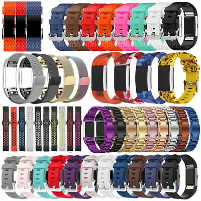 For Fitbit Charge 2 Silicone/Stainless Steel Replacement Band Strap Bracelet