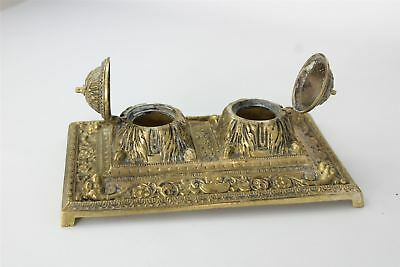 Vintage Brass Ornate Double Inkwell Desk Stand ( Lacking Glass Inserts ) 1664g