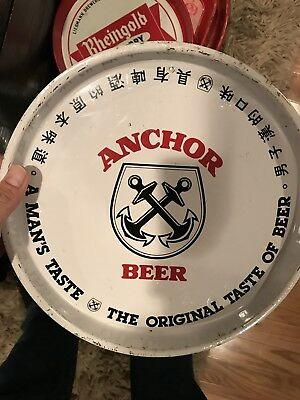 "Vintage ANCHOR BEER Serving Beer Tray, 11.75"" Round"