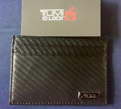 Tumi Black Carbon Fiber Print Slim Card Case BLACK