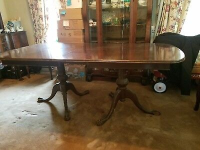 Antique Vintage dining table double pedestal retractable leaf Ball & Claw Style