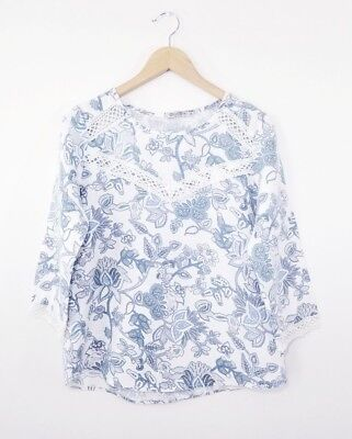b502d54c351c44 Elena Baldi Made in Italy Lace and Linen Floral Shirt Navy Blue White  Women s M