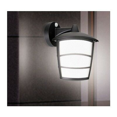 LED Wall Lantern PIR Sensor Black Outdoor 6 Watt Traditional Integrated LEDs