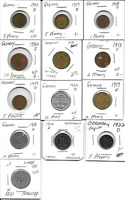 Germany vintage lot of 13 thirteen coins all in 2x2 holders