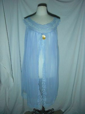 Vintage Garden Blue Lavender Chiffon Nightgown Size 48 Made in Italy
