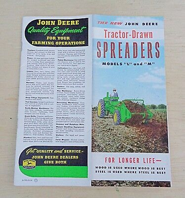 vtg brochure JOHN DEERE tractor drawn spreaders MODEL L & M dealers farm fresh