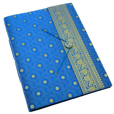Fair Trade Handmade Extra Large Sari Photo Album Scrapbook Blue