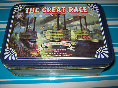 "The Great Race-""river Boat Race Game"" Tin Vintage Game Series"