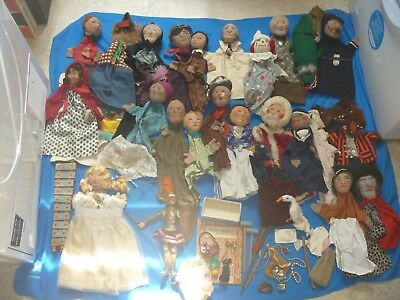 Vintage Collection Of Punch & Judy Hand Puppets With Many Accessories