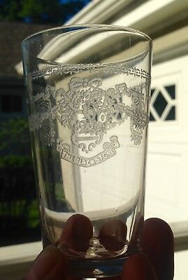 The Blackstone Hotel Chicago 1940s 1950s Etched Liquor Glass Rooster Logo VTG