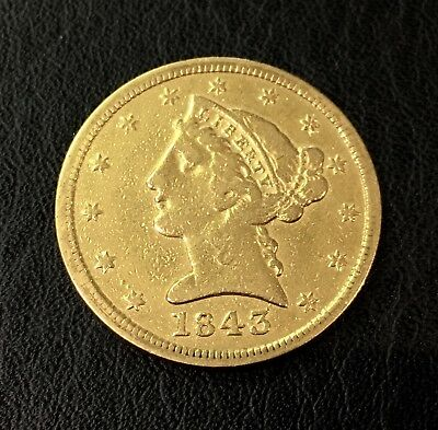 1843-D Half Eagle $5 Gold Liberty Coin RARE DAHLONEGA Issue, Nice! No Reserve