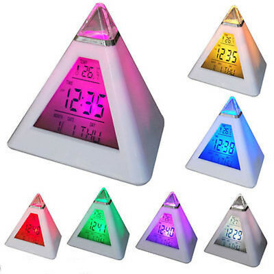 7 Color Change Triangle Pyramid Clock Time LED Alarm Digital LCD Thermometer New