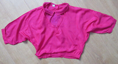 HOT PINK VINTAGE 1980s  unfitted TOP BLOUSE UK fit 12/14 - SEE MEASUREMENTS