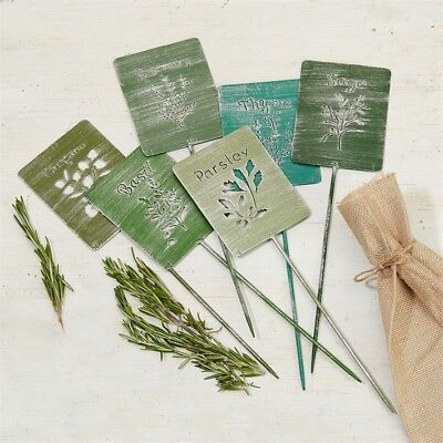 Set of 6 Kitchen Garden Silhouette Metal Herb Markers in gift bag. 9.5 x 33cm