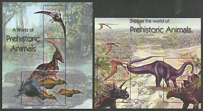 Gambia 2003 Prehistoric Animals Dinosaurs Set Of 2 M/sheets Mnh