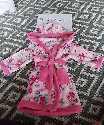 miniclub pink floral dressing gown 18-24 Months hardly worn
