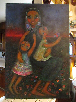 Antique / Vintage Mexican / Latin Mother & Childre Folk Art Painting Signed