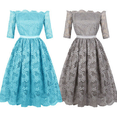 UK Womens Lace Vintage 1950s 60s Rockabilly Evening Prom Swing Dress Plus Size