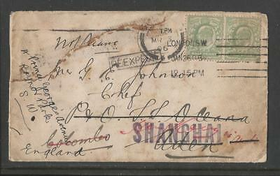 Aden 1906 To Chef Aboard S.s.oceana Re-Directed Colombo Hong Kong Shanghai India