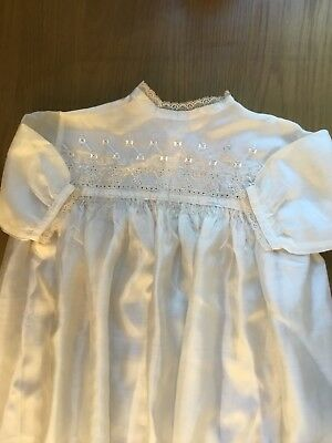 Antique Long Baby Gown Dress Fine Ivory Cream Silk Embroidered