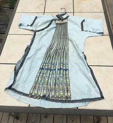 Old Chinese Silk Embroidered Ribbon Robe Shirt