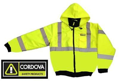Hi-Vis Insulated Lined Safety Bomber Jacket - Lime - ROAD WORK HIGH VISIBILITY,