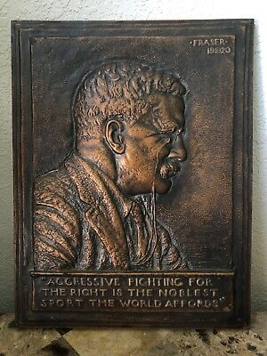 Theodore Roosevelt Bronze Bas Relief Portrait Plaque by James Earle FRASER 1920