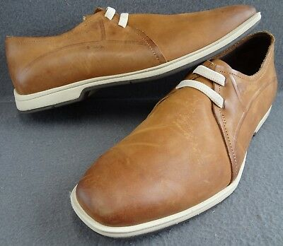 Cole Haan Air 9.5 M Men Light Brown Leather 2-Eye Elastic Casual Oxford C08302