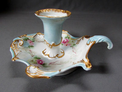 Antique HAND PAINTED Candle Holder PORCELAIN CHAMBERSTICK w Crossed Swords Mark