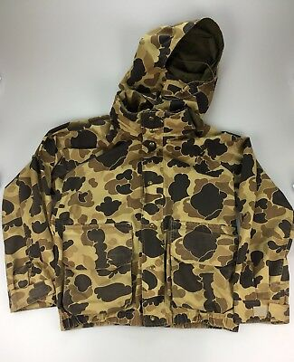 Vtg Columbia Mens Large Hooded Woodland Camo Hunting Jacket Gore-Tex Thinsulate