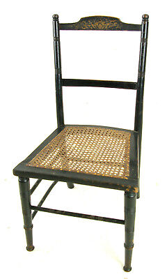 Antique Childs Chair, Ebonized Doll Chair, Victorian, Caned, Scotland 1880,B1141