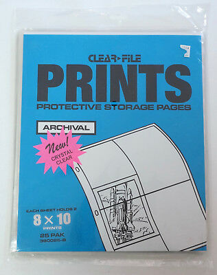 Clear-File Archival 8x10 Pages. 25 Pak 380025-B. Sealed.