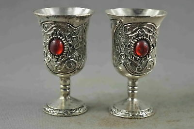 Collectable Handwork Decor Miao Silver Carve Flower Inlay Agate Lucky Wine Cup