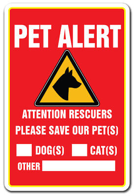 "Pet Alert [3 Pack] of Vinyl Decal Stickers 3.3"" X 5"" 