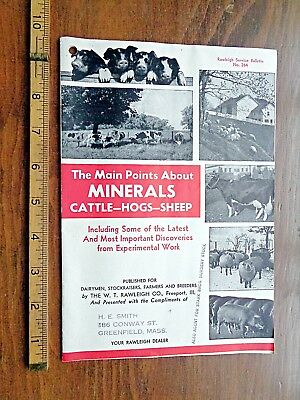 VTG BOOKLET FARMING livestock feeding MINERALS cattle hogs sheep GREENFIELD ma