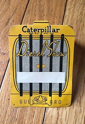 Vintage Caterpillar Cat Diesel Tractor Trade Show Guest Card Employee Pass Badge