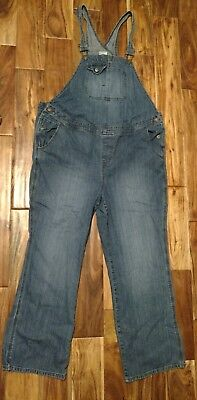 EUC Women's XL Motherhood Maternity Denim Bib Overalls 2 Button Adjustable Waist