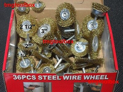 36 Pc' Steel Wire Wheel & Cup Brush Crimped Assortment 1/4 Shank, 3'' 2-1/2'' 2
