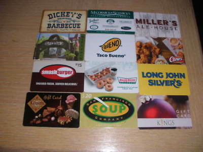 Restaurants   12 different new collectible gift cards