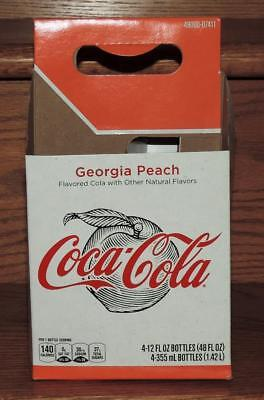 NM 2018 USA LE COCA-COLA GEORGIA PEACH 12oz 4-PACK SODA BOTTLE CARTON CARRIER
