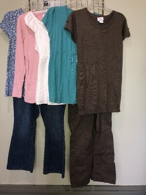 Mixed Lot Maternity Clothing Jeans Cargo Pant Tops Women's L 12-14