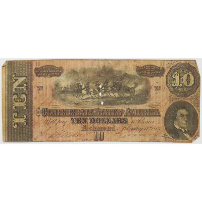 1864 $10 Confederate States of America Richmond, V.A. Banknote