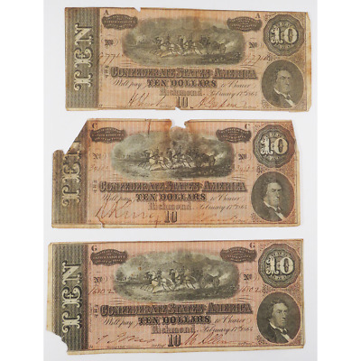 Lof of 3 - 1864 $10 Confederate States of America Richmond, V.A. Banknote